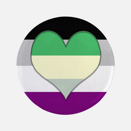 """Aromantic Asexual Heart #2 3.5"""" Button"""