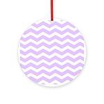 Lilac Purple and white Chevron Ornament (Round)