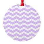 Lilac Purple and white Chevron Round Ornament