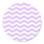 Lilac Purple and white Chevron Round Car Magnet