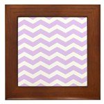 Lilac Purple and white Chevron Framed Tile
