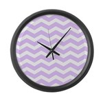Lilac Purple and white Chevron Large Wall Clock
