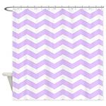 Lilac Purple and white Chevron Shower Curtain