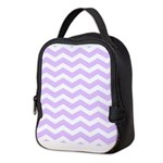 Lilac Purple and white Chevron Neoprene Lunch Bag