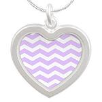 Lilac Purple and white Chevron Necklaces