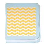 Yellow and white Chevron baby blanket