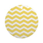 Yellow and white Chevron Ornament (Round)