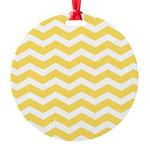 Yellow and white Chevron Round Ornament