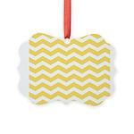 Yellow and white Chevron Picture Ornament