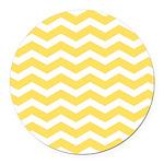 Yellow and white Chevron Round Car Magnet