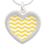 Yellow and white Chevron Necklaces