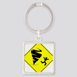 Tornado Caution Sign Keychains