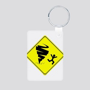 Tornado Caution Sign Keychains