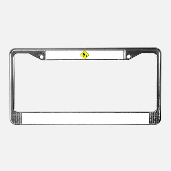 Tornado Caution Sign License Plate Frame