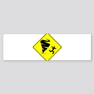 Tornado Caution Sign Bumper Sticker