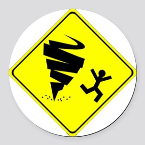Tornado Caution Sign Round Car Magnet