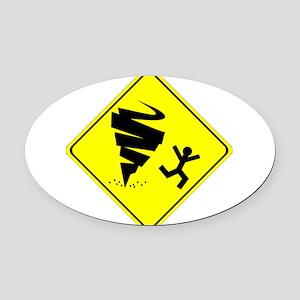 Tornado Caution Sign Oval Car Magnet