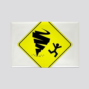 Tornado Caution Sign Rectangle Magnet