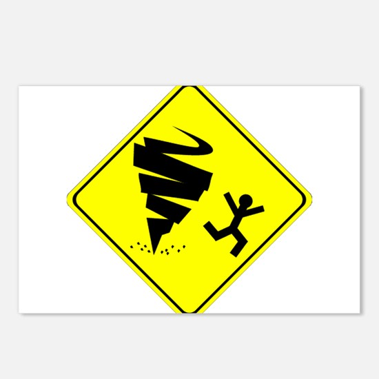 Tornado Caution Sign Postcards (Package of 8)