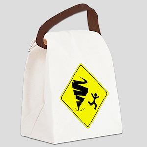 Tornado Caution Sign Canvas Lunch Bag
