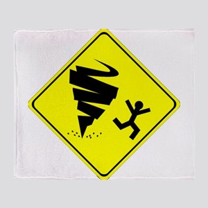 Tornado Caution Sign Throw Blanket