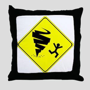 Tornado Caution Sign Throw Pillow