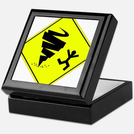 Tornado Caution Sign Keepsake Box