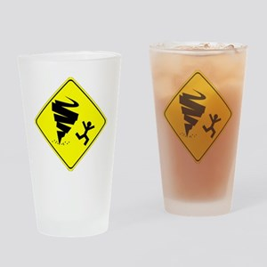 Tornado Caution Sign Drinking Glass