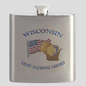 Army National Guard - WISCONSIN w Flag Flask