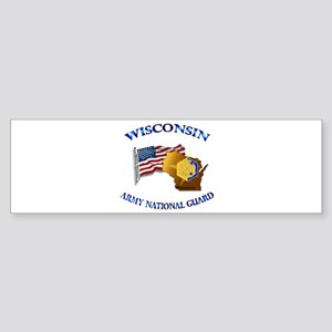 Army National Guard - WISCONSIN w Flag Sticker (Bu