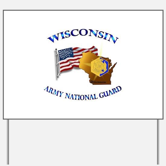 Army National Guard - WISCONSIN w Flag Yard Sign