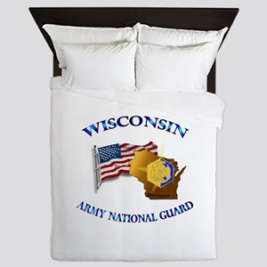 Army National Guard - WISCONSIN w Flag Queen Duvet