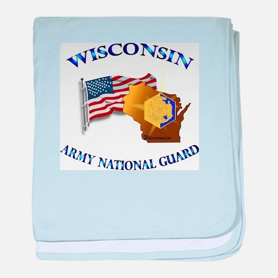Army National Guard - WISCONSIN w Flag baby blanke