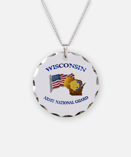 Army National Guard - WISCONSIN w Flag Necklace