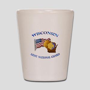 Army National Guard - WISCONSIN w Flag Shot Glass