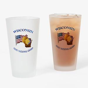 Army National Guard - WISCONSIN w Flag Drinking Gl