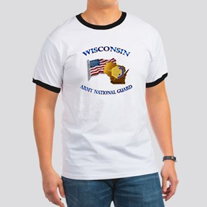 Army National Guard - WISCONSIN w Flag Ringer T
