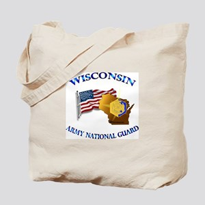 Army National Guard - WISCONSIN w Flag Tote Bag