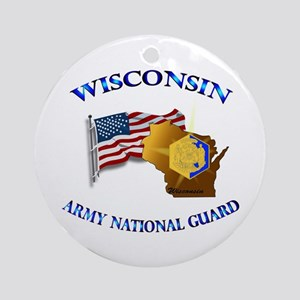 Army National Guard - WISCONSIN w Flag Ornament (R