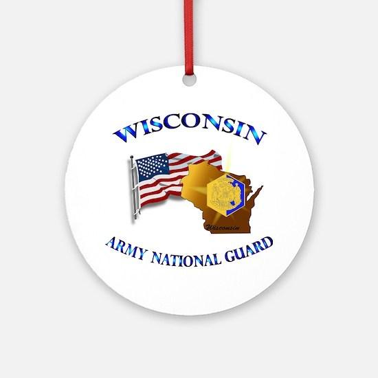 Army National Guard - WISCONSIN w Flag Ornament (R