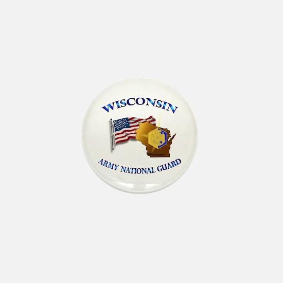 Army National Guard - WISCONSIN w Flag Mini Button
