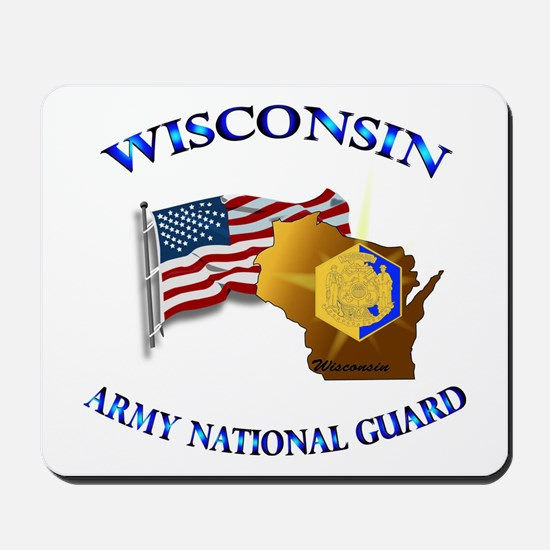 Army National Guard - WISCONSIN w Flag Mousepad