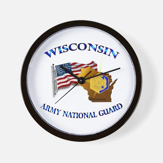 Army National Guard - WISCONSIN w Flag Wall Clock