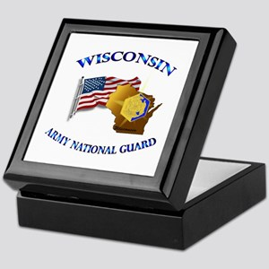 Army National Guard - WISCONSIN w Flag Keepsake Bo