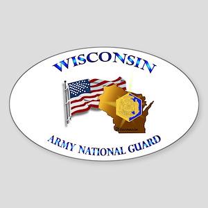 Army National Guard - WISCONSIN w Flag Sticker (Ov