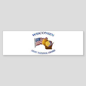 Army National Guard - WISCONSIN w Flag Sticker (Bu