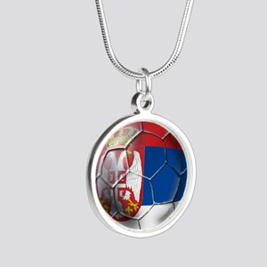 Serbian Football Silver Round Necklace