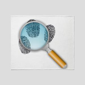 Fingerprints Under Magnifying Glass Throw Blanket