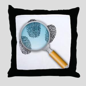 Fingerprints Under Magnifying Glass Throw Pillow