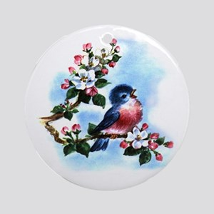 BLUEBIRD AND BLOSSOMS Ornament (Round)